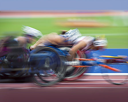 Blurry Paralympion Cyclists