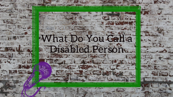 "Microphone pointing to a neon sign with blog title ""what do you call a disabled person"" against a brick wall in a stand-up comedy style"